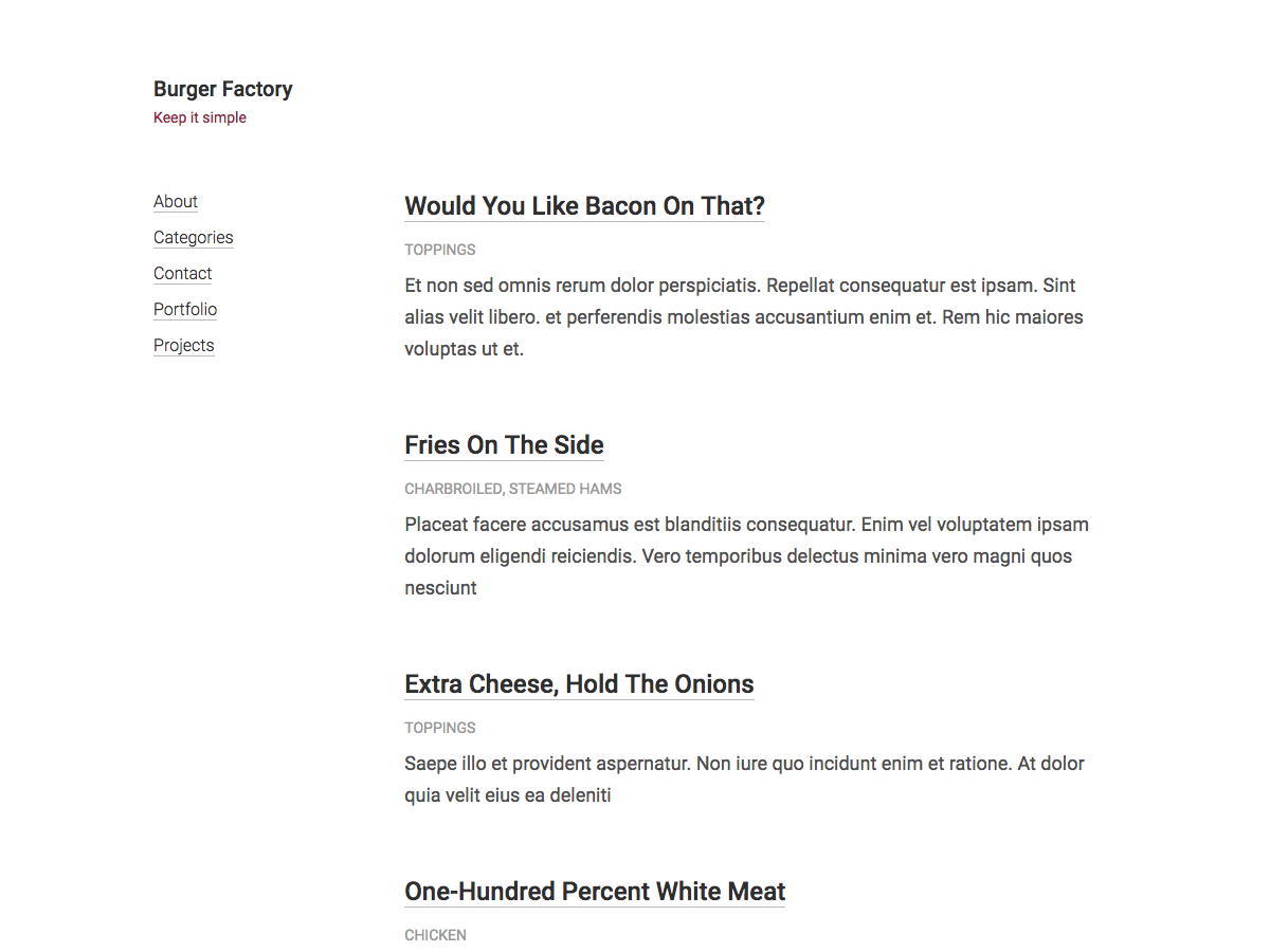 Burger Factory Preview Wordpress Theme - Rating, Reviews, Preview, Demo & Download