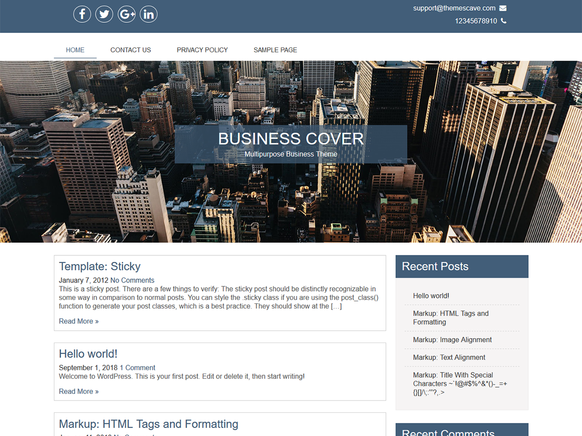 Business Cover Preview Wordpress Theme - Rating, Reviews, Preview, Demo & Download
