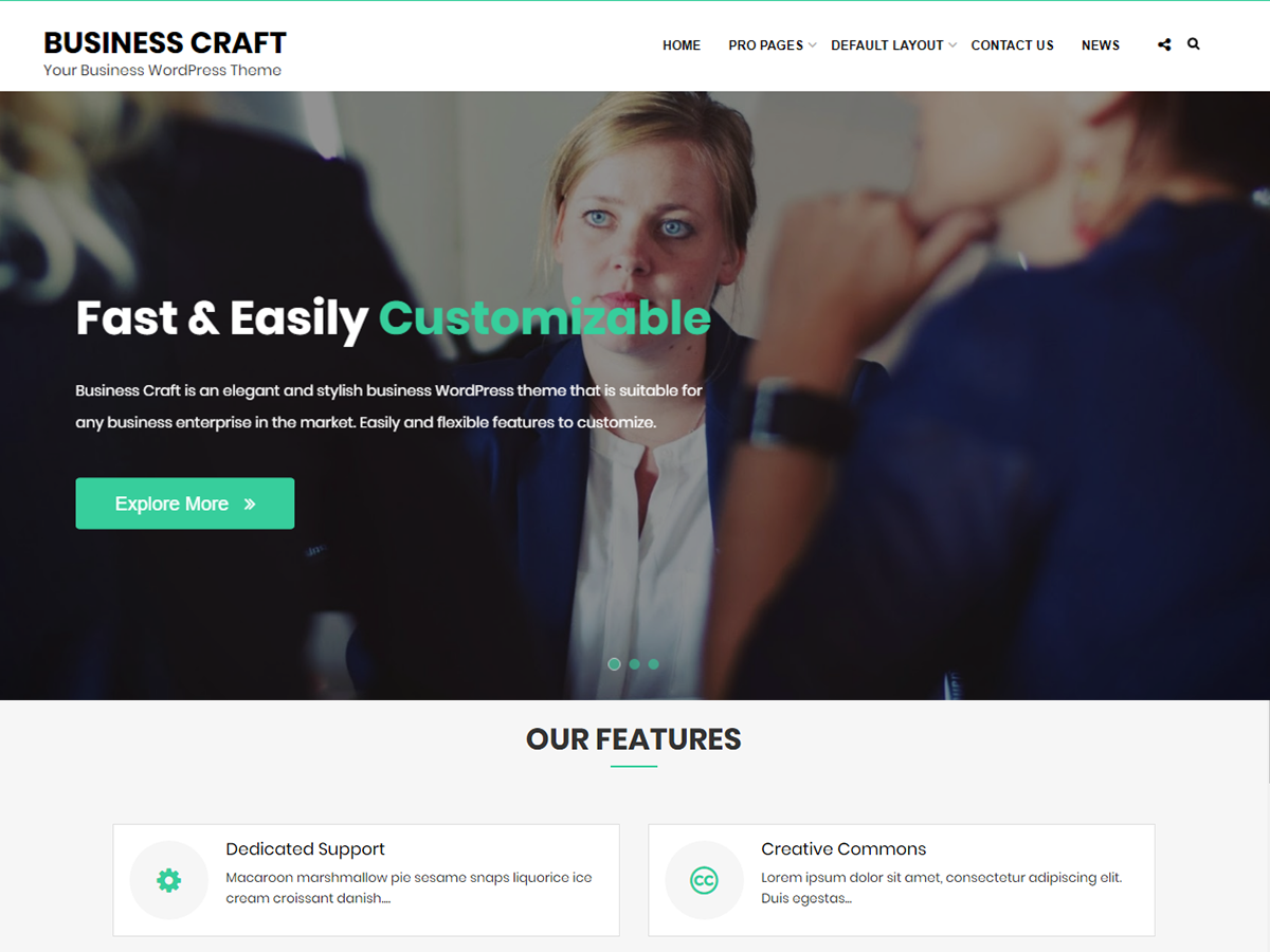 Business Craft Preview Wordpress Theme - Rating, Reviews, Preview, Demo & Download