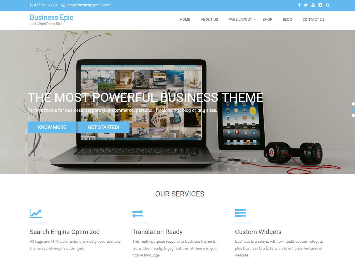Business Epic Preview Wordpress Theme - Rating, Reviews, Preview, Demo & Download