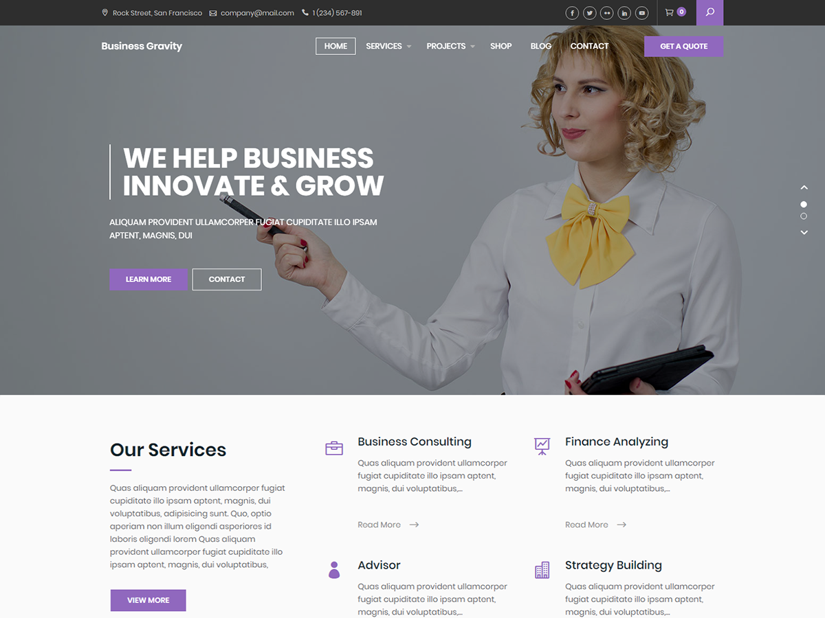 Business Gravity Preview Wordpress Theme - Rating, Reviews, Preview, Demo & Download