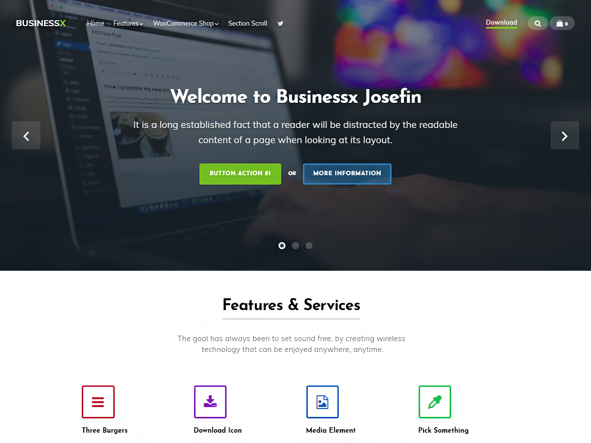 Businessx Josefin Preview Wordpress Theme - Rating, Reviews, Preview, Demo & Download