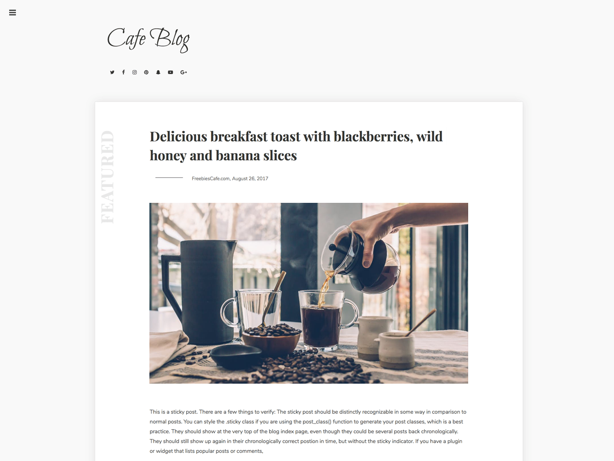 Cafe Blog Preview Wordpress Theme - Rating, Reviews, Preview, Demo & Download