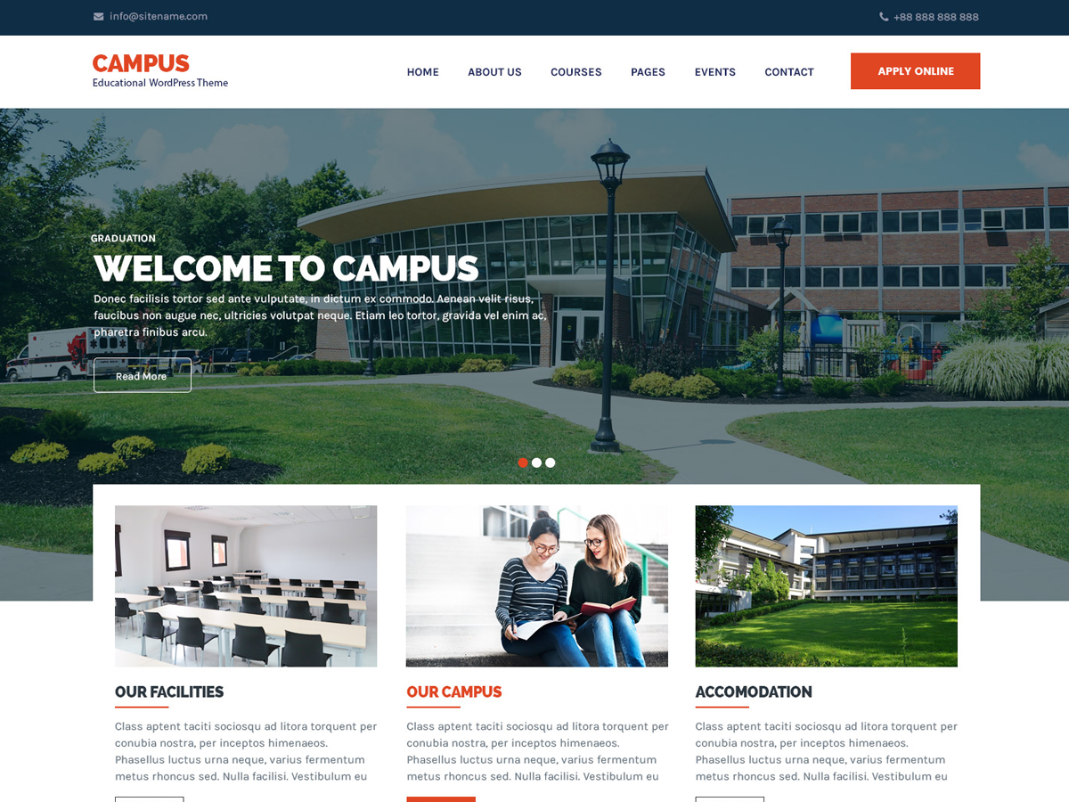 Campus Lite Preview Wordpress Theme - Rating, Reviews, Preview, Demo & Download