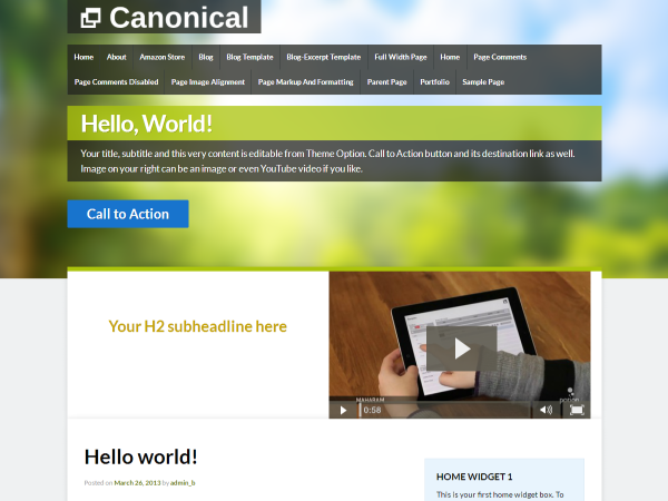 Canonical Preview Wordpress Theme - Rating, Reviews, Preview, Demo & Download