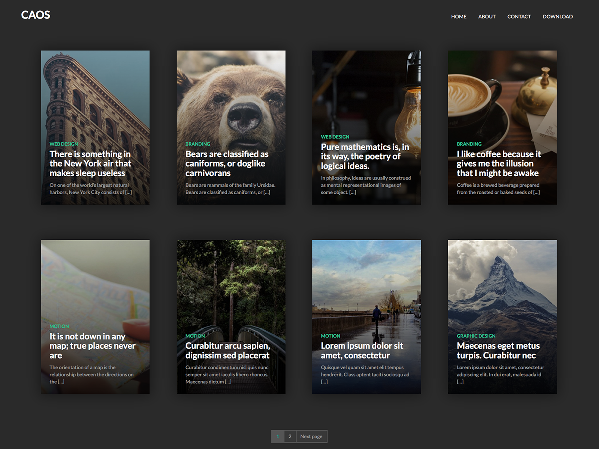 Caos Preview Wordpress Theme - Rating, Reviews, Preview, Demo & Download