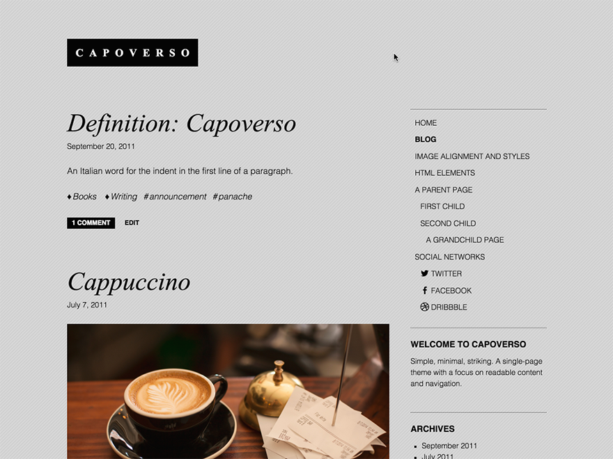 Capoverso Preview Wordpress Theme - Rating, Reviews, Preview, Demo & Download