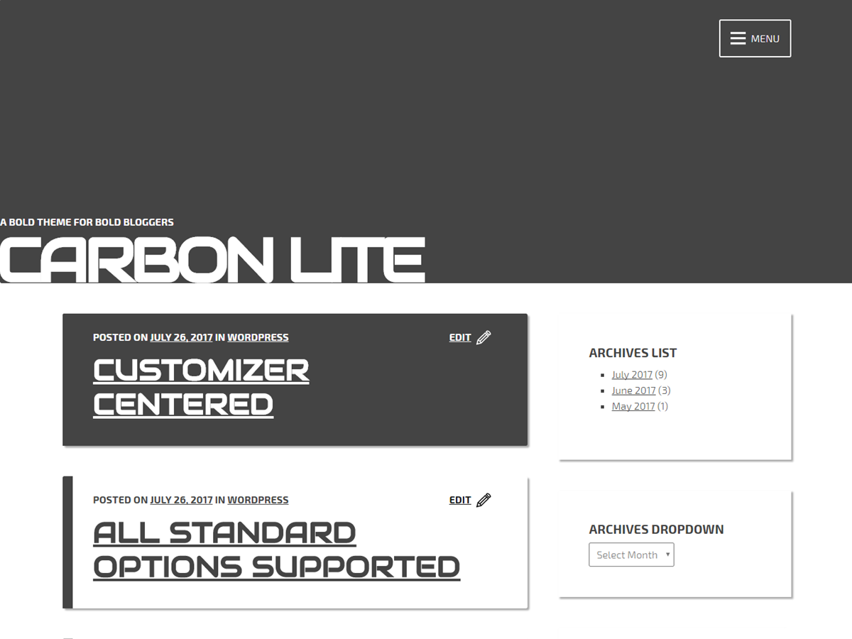 Carbon Lite Preview Wordpress Theme - Rating, Reviews, Preview, Demo & Download
