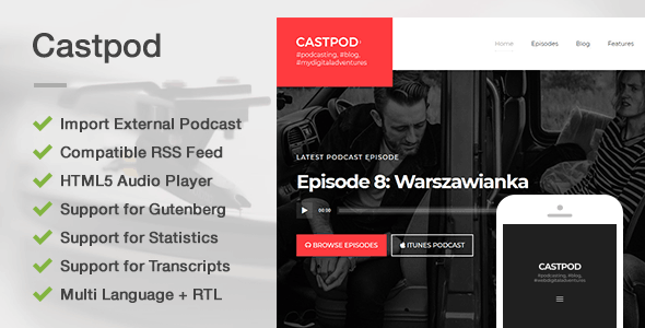 Castpod Preview Wordpress Theme - Rating, Reviews, Preview, Demo & Download