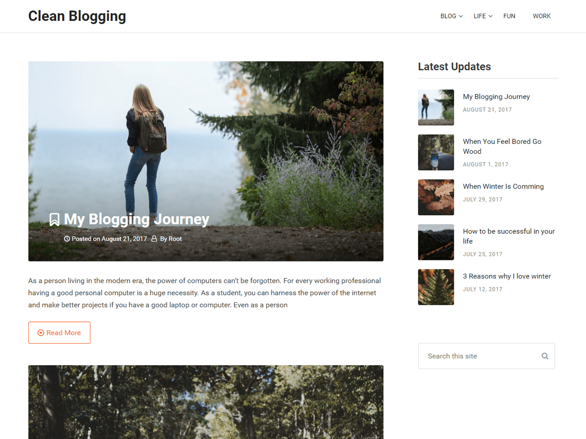 Clean Blogging Preview Wordpress Theme - Rating, Reviews, Preview, Demo & Download