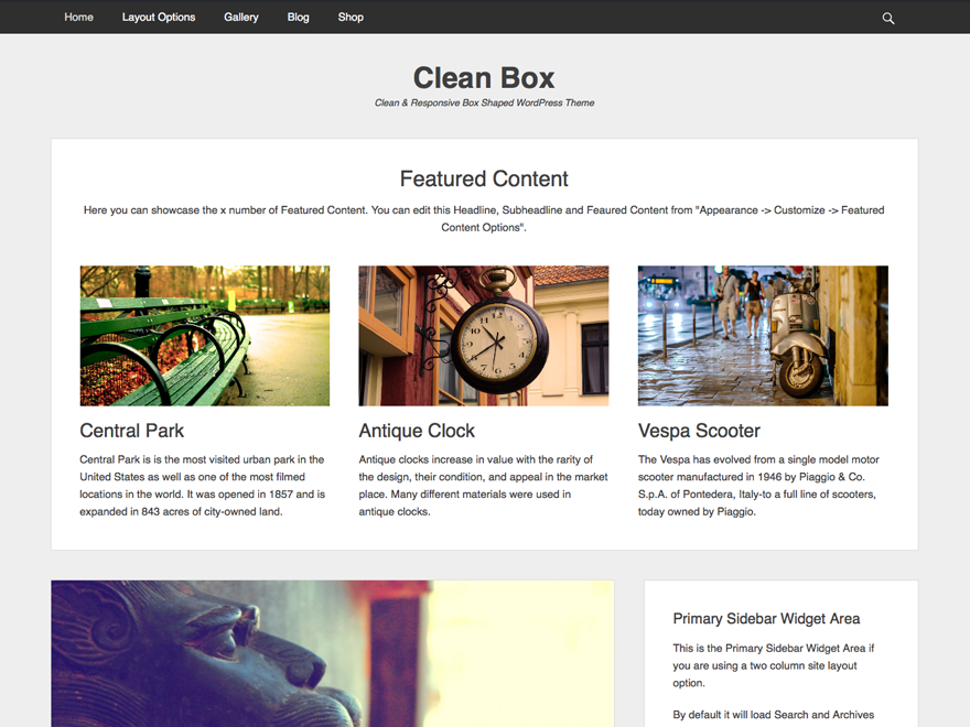 Clean Box Preview Wordpress Theme - Rating, Reviews, Preview, Demo & Download