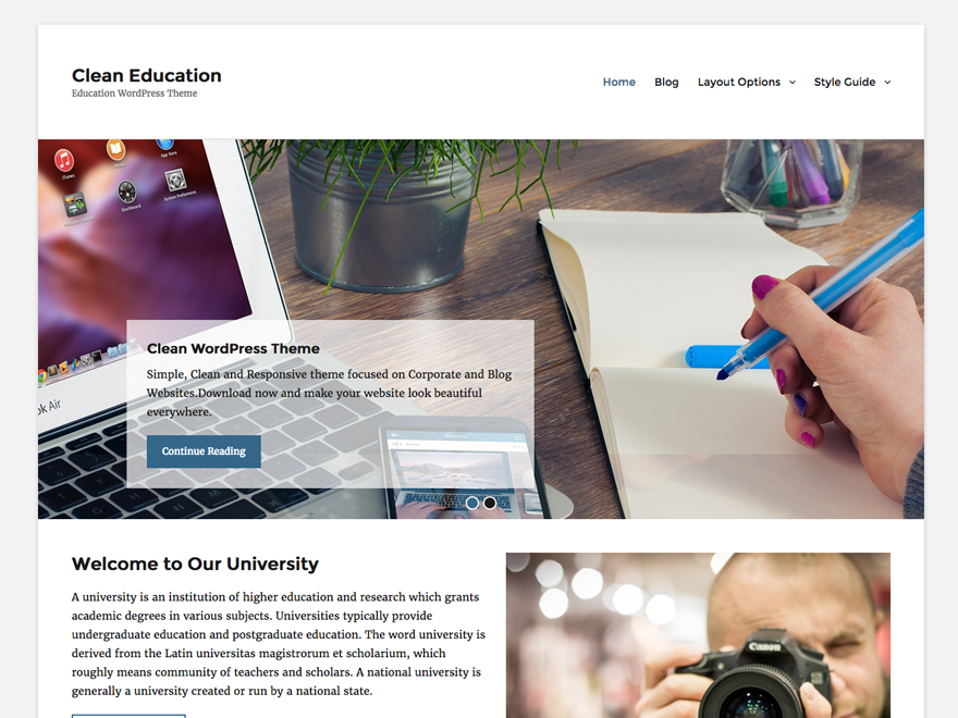 Clean Education Preview Wordpress Theme - Rating, Reviews, Preview, Demo & Download