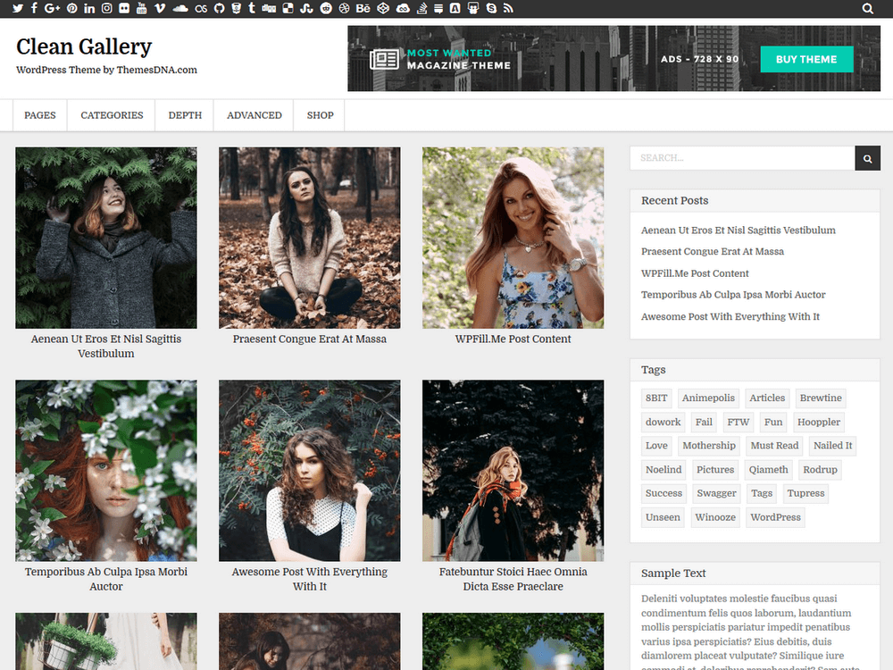 Clean Gallery Preview Wordpress Theme - Rating, Reviews, Preview, Demo & Download