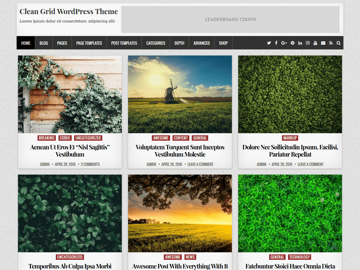 Clean Grid Preview Wordpress Theme - Rating, Reviews, Preview, Demo & Download