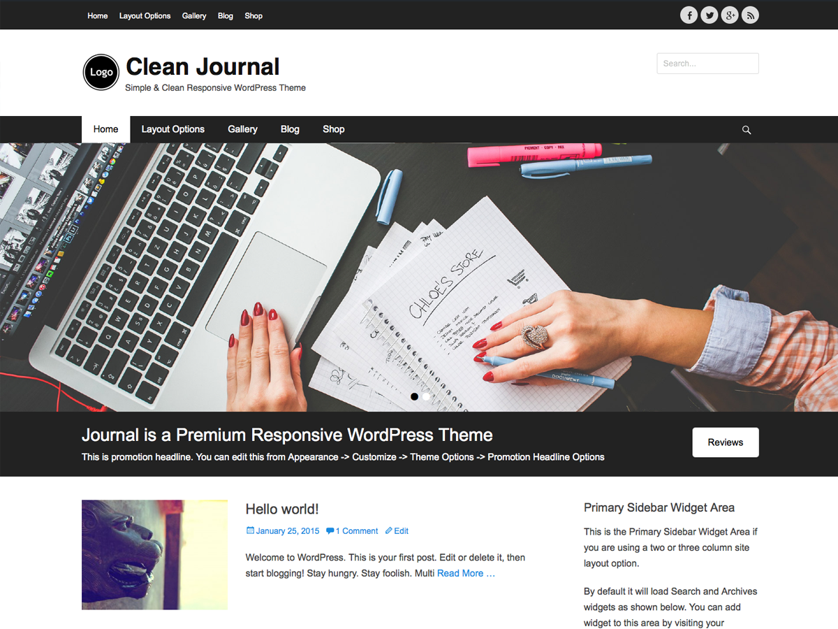 Clean Journal Preview Wordpress Theme - Rating, Reviews, Preview, Demo & Download