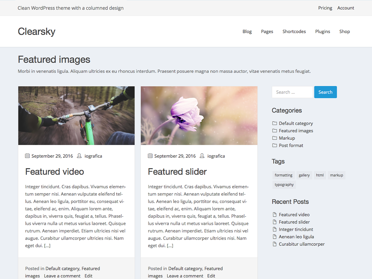 Clearsky Preview Wordpress Theme - Rating, Reviews, Preview, Demo & Download
