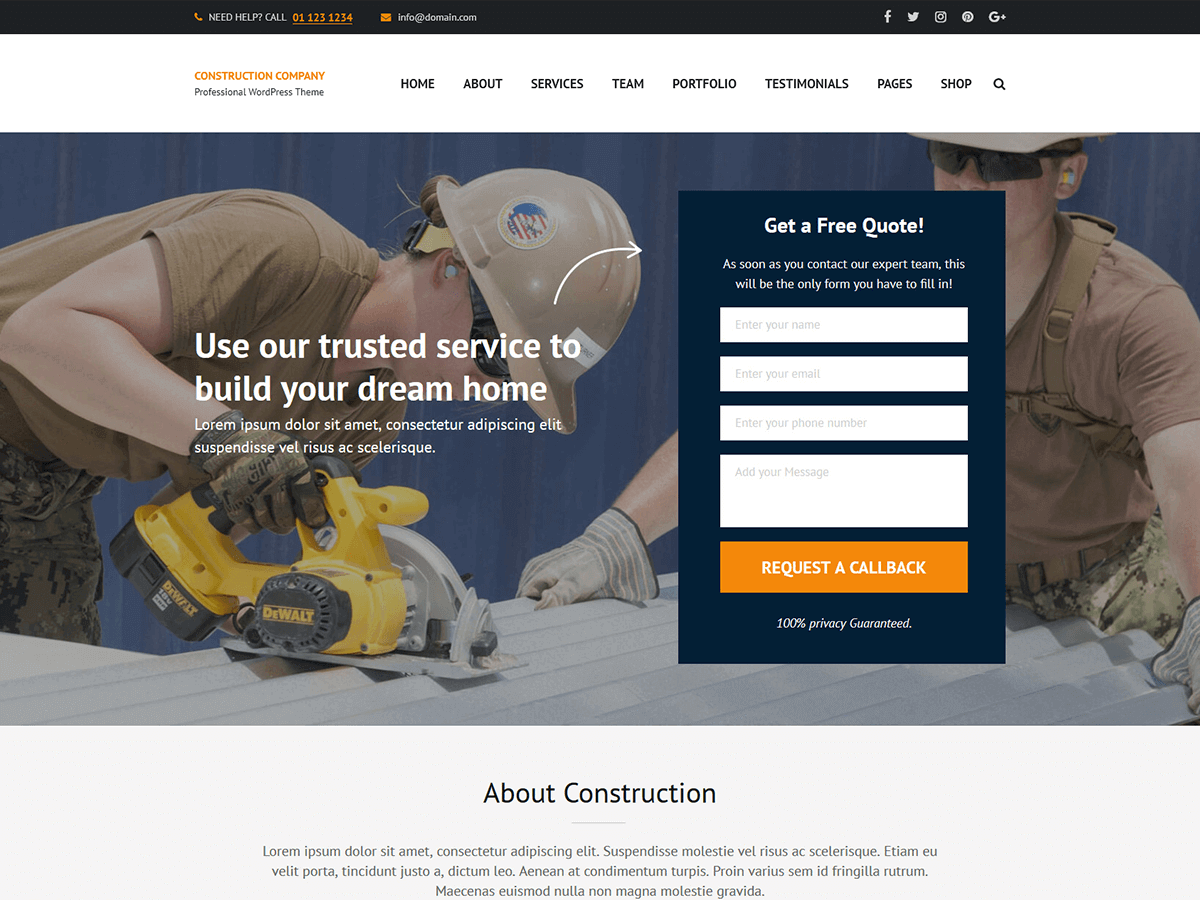 Construction Company Preview Wordpress Theme - Rating, Reviews, Preview, Demo & Download