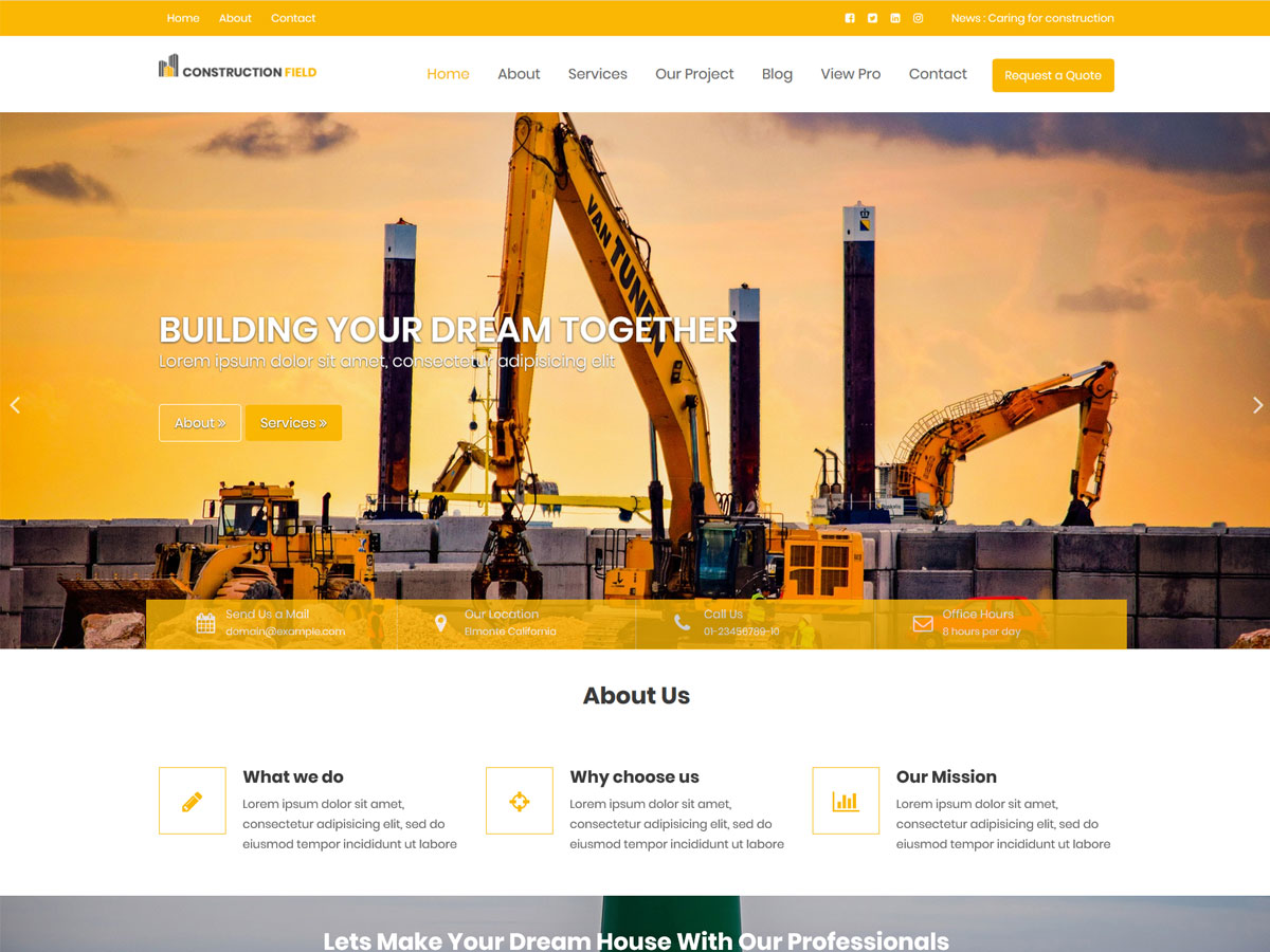 Construction Field Preview Wordpress Theme - Rating, Reviews, Preview, Demo & Download