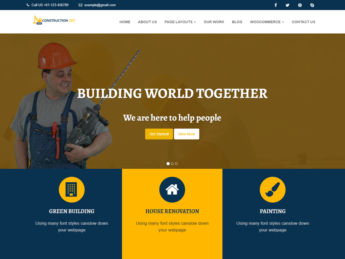 Construction Get Preview Wordpress Theme - Rating, Reviews, Preview, Demo & Download