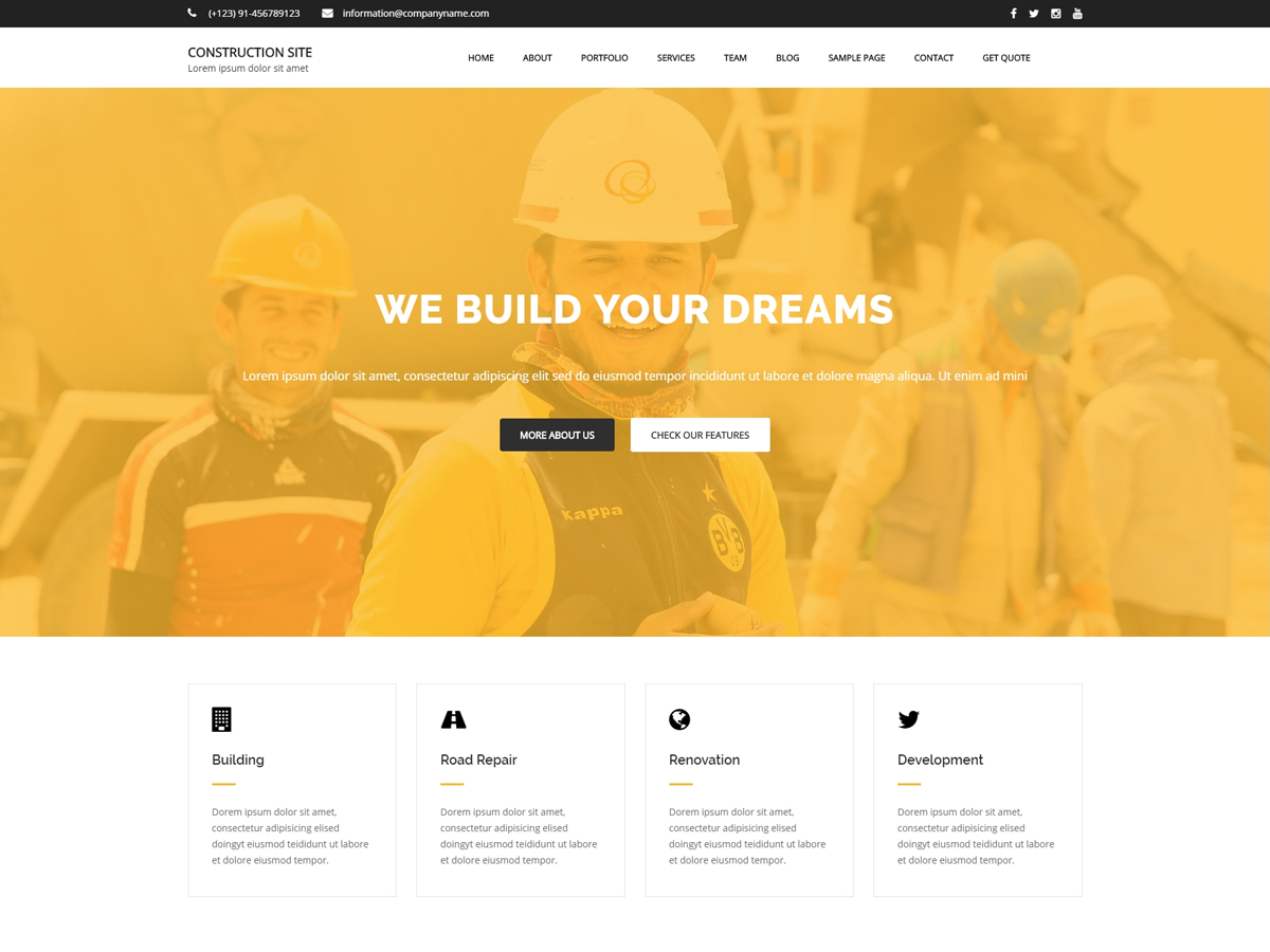 Construction Site Preview Wordpress Theme - Rating, Reviews, Preview, Demo & Download
