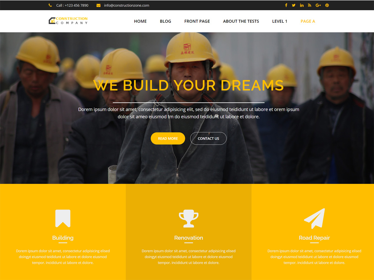 Construction Zone Preview Wordpress Theme - Rating, Reviews, Preview, Demo & Download