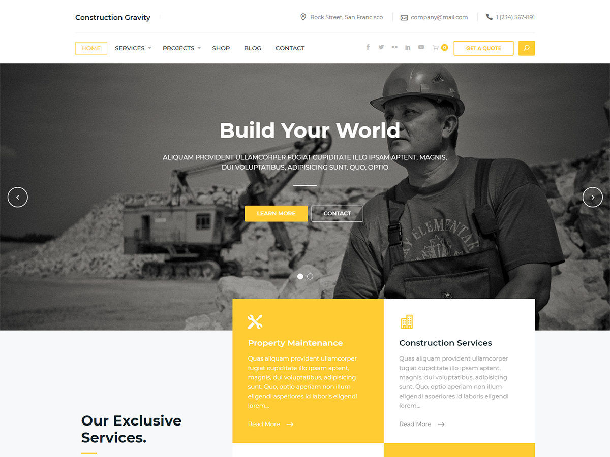 Constrution Gravity Preview Wordpress Theme - Rating, Reviews, Preview, Demo & Download