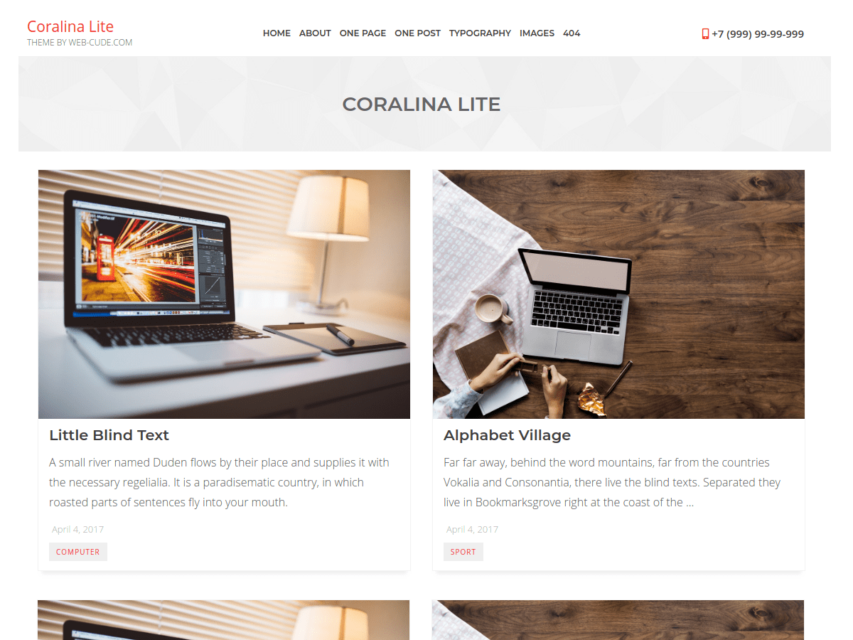 Coralina Lite Preview Wordpress Theme - Rating, Reviews, Preview, Demo & Download