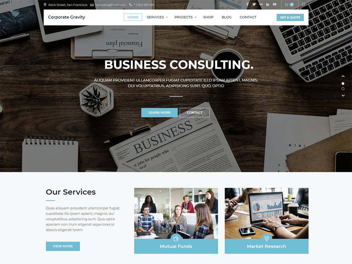 Corporate Gravity Preview Wordpress Theme - Rating, Reviews, Preview, Demo & Download