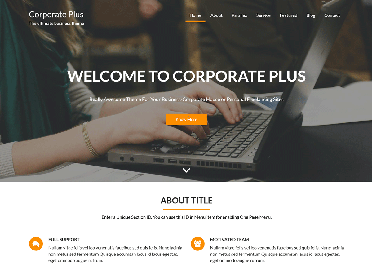 Corporate Plus Preview Wordpress Theme - Rating, Reviews, Preview, Demo & Download