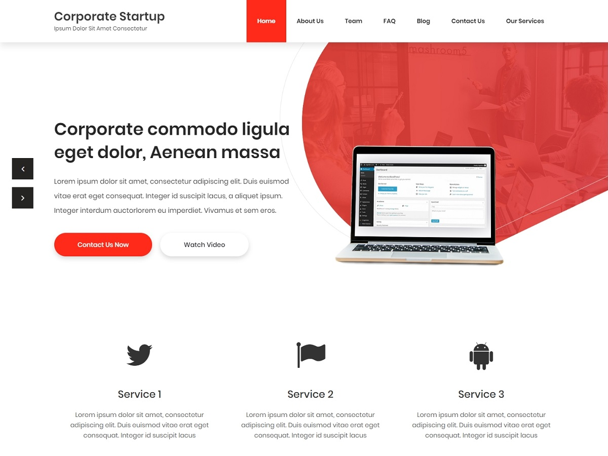 Corporate Startup Preview Wordpress Theme - Rating, Reviews, Preview, Demo & Download