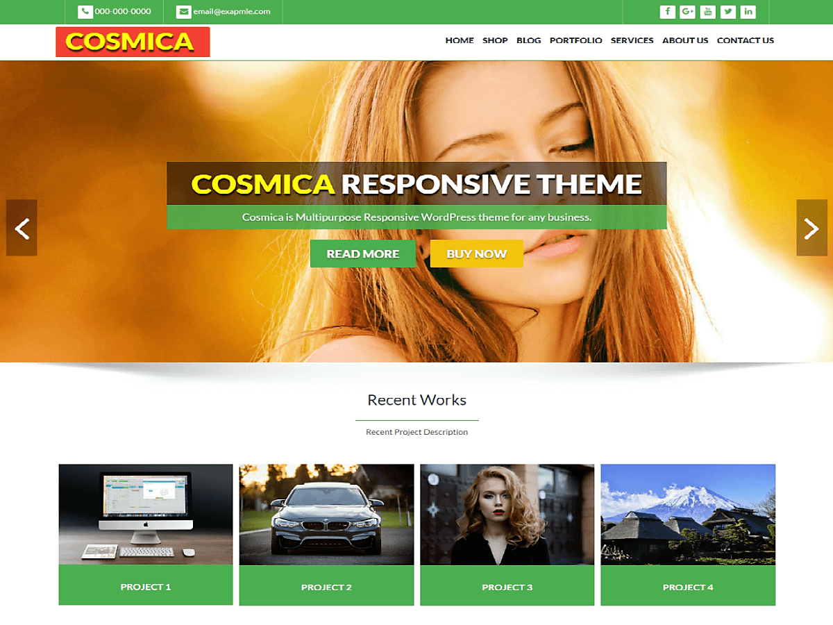 Cosmica Green Preview Wordpress Theme - Rating, Reviews, Preview, Demo & Download