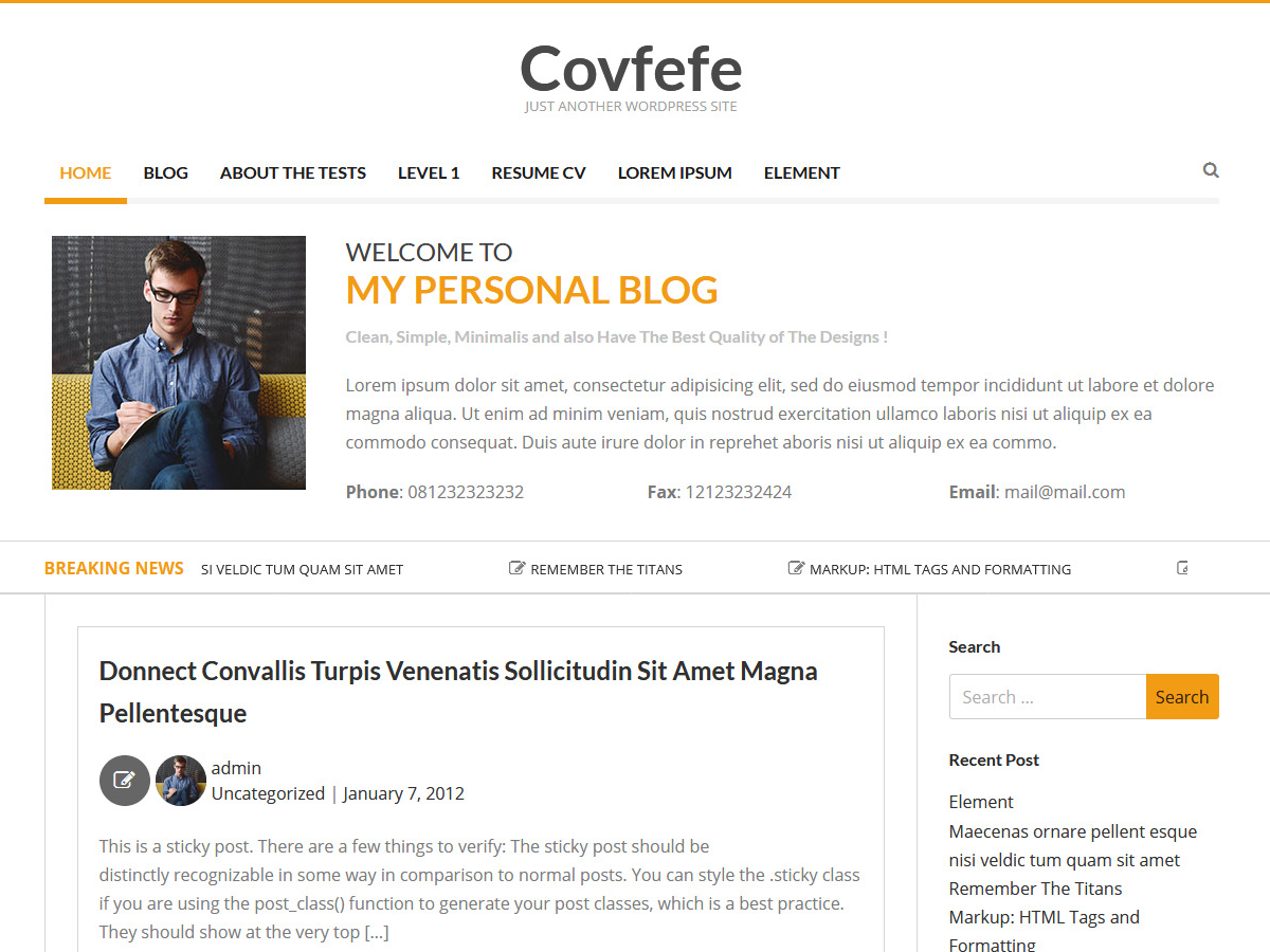 Covfefe Preview Wordpress Theme - Rating, Reviews, Preview, Demo & Download