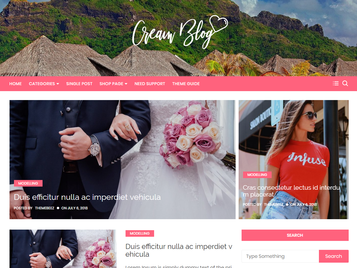 Cream Blog Preview Wordpress Theme - Rating, Reviews, Preview, Demo & Download