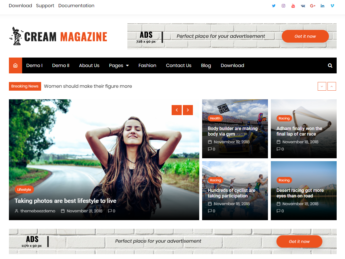 Cream Magazine Preview Wordpress Theme - Rating, Reviews, Preview, Demo & Download