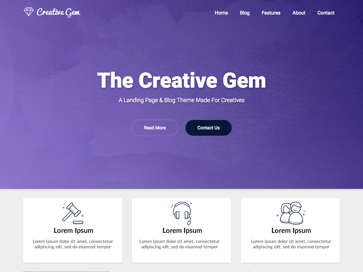 Creative Gem Preview Wordpress Theme - Rating, Reviews, Preview, Demo & Download