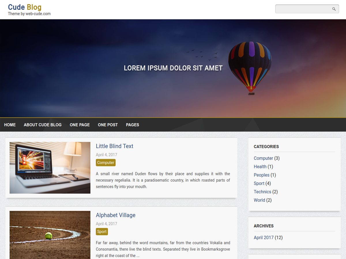 Cude Blog Preview Wordpress Theme - Rating, Reviews, Preview, Demo & Download