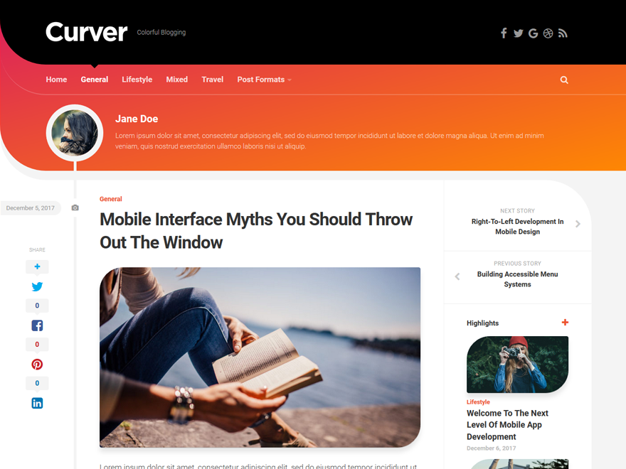 Curver Preview Wordpress Theme - Rating, Reviews, Preview, Demo & Download