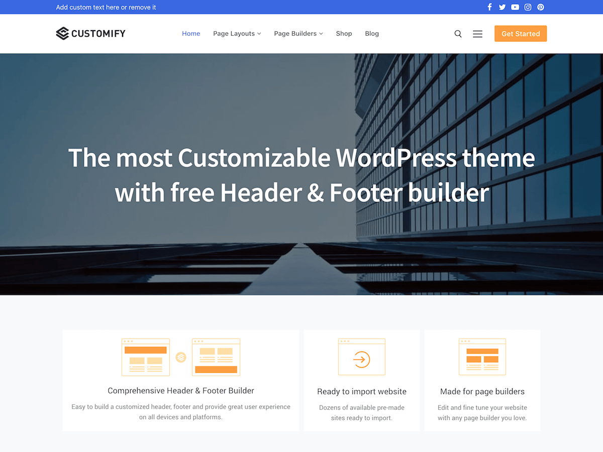Customify Preview Wordpress Theme - Rating, Reviews, Preview, Demo & Download