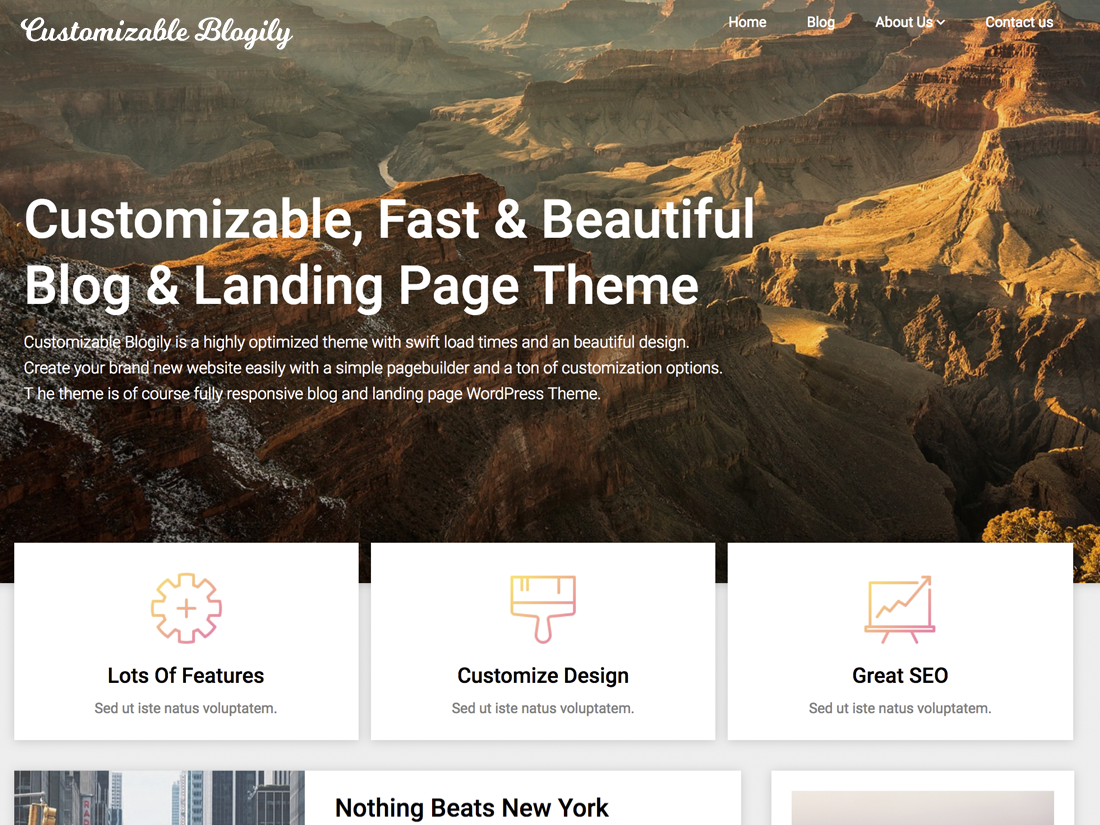 Customizable Blogily Preview Wordpress Theme - Rating, Reviews, Preview, Demo & Download
