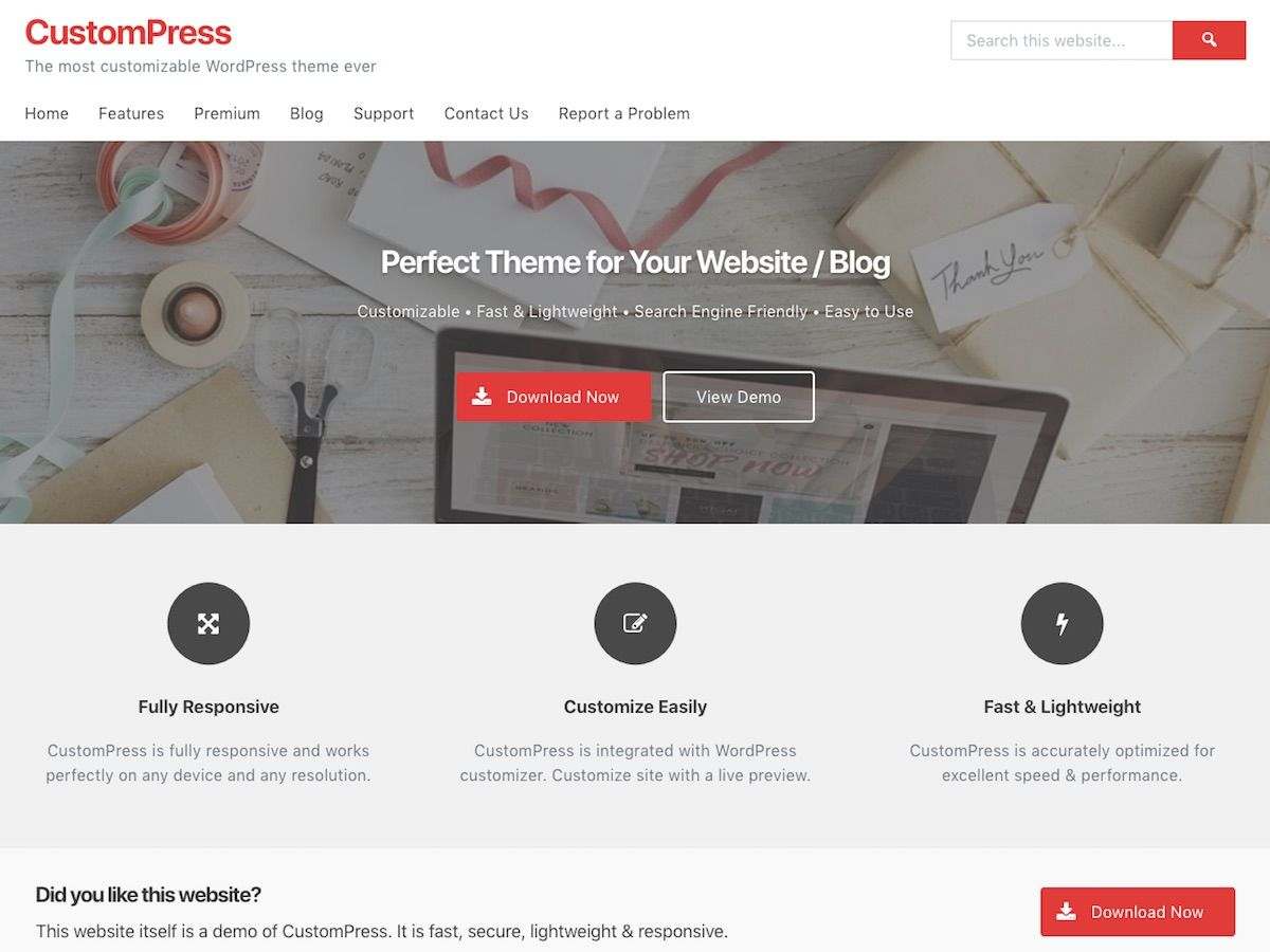 CustomPress Preview Wordpress Theme - Rating, Reviews, Preview, Demo & Download