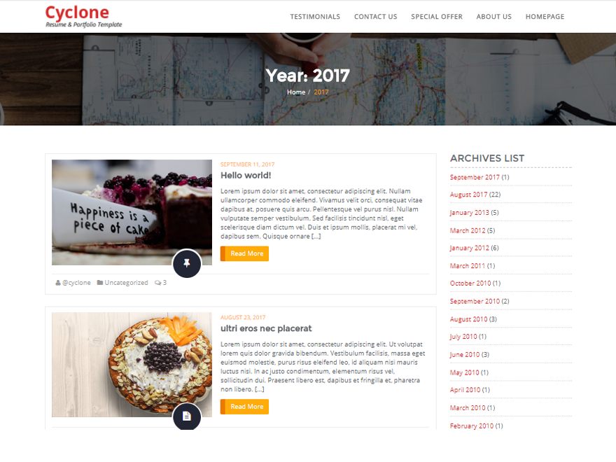 Cyclone Blog Preview Wordpress Theme - Rating, Reviews, Preview, Demo & Download