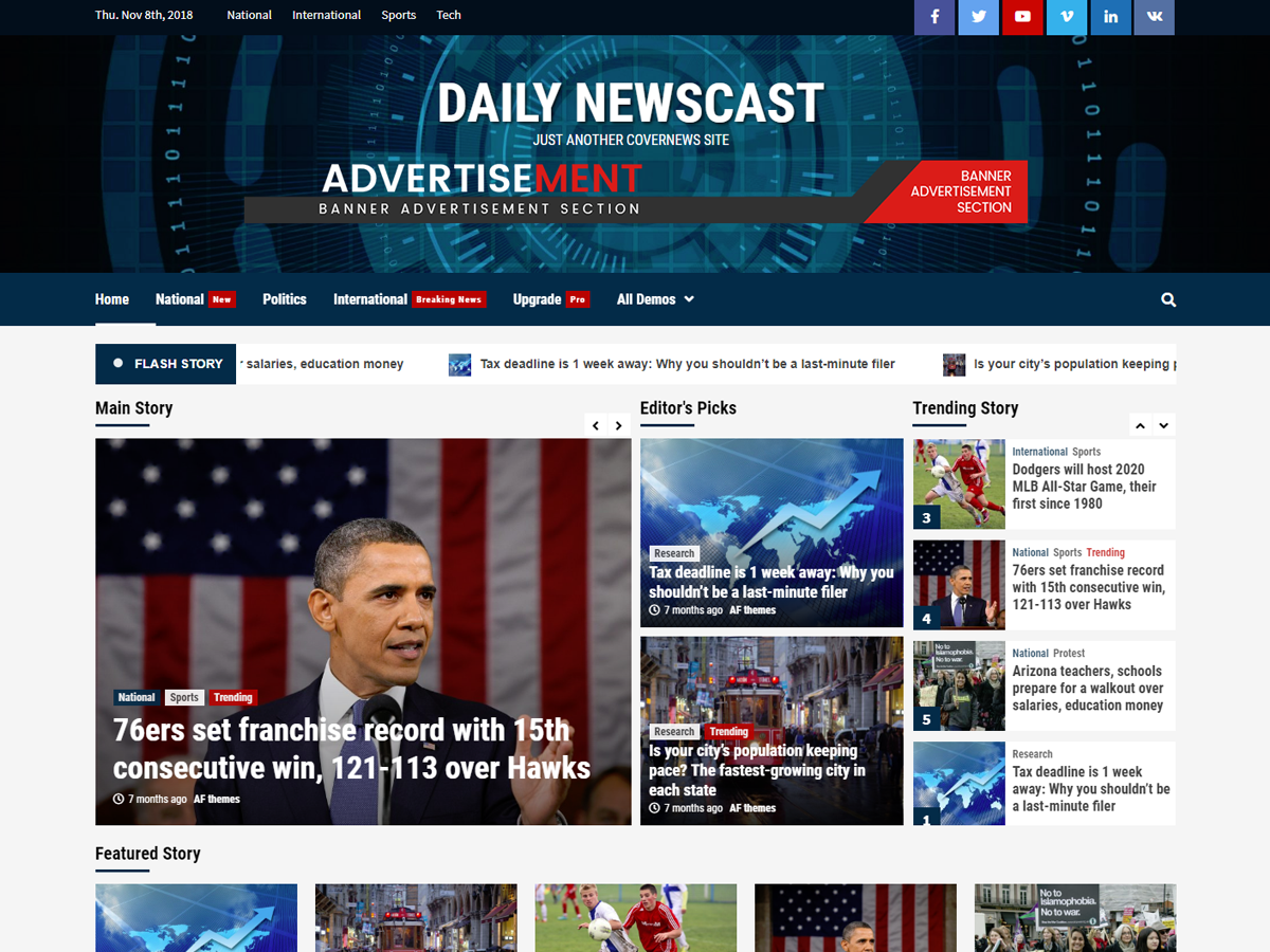 Daily Newscast Preview Wordpress Theme - Rating, Reviews, Preview, Demo & Download