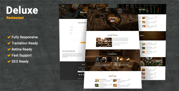 Deluxe Restaurant Preview Wordpress Theme - Rating, Reviews, Preview, Demo & Download