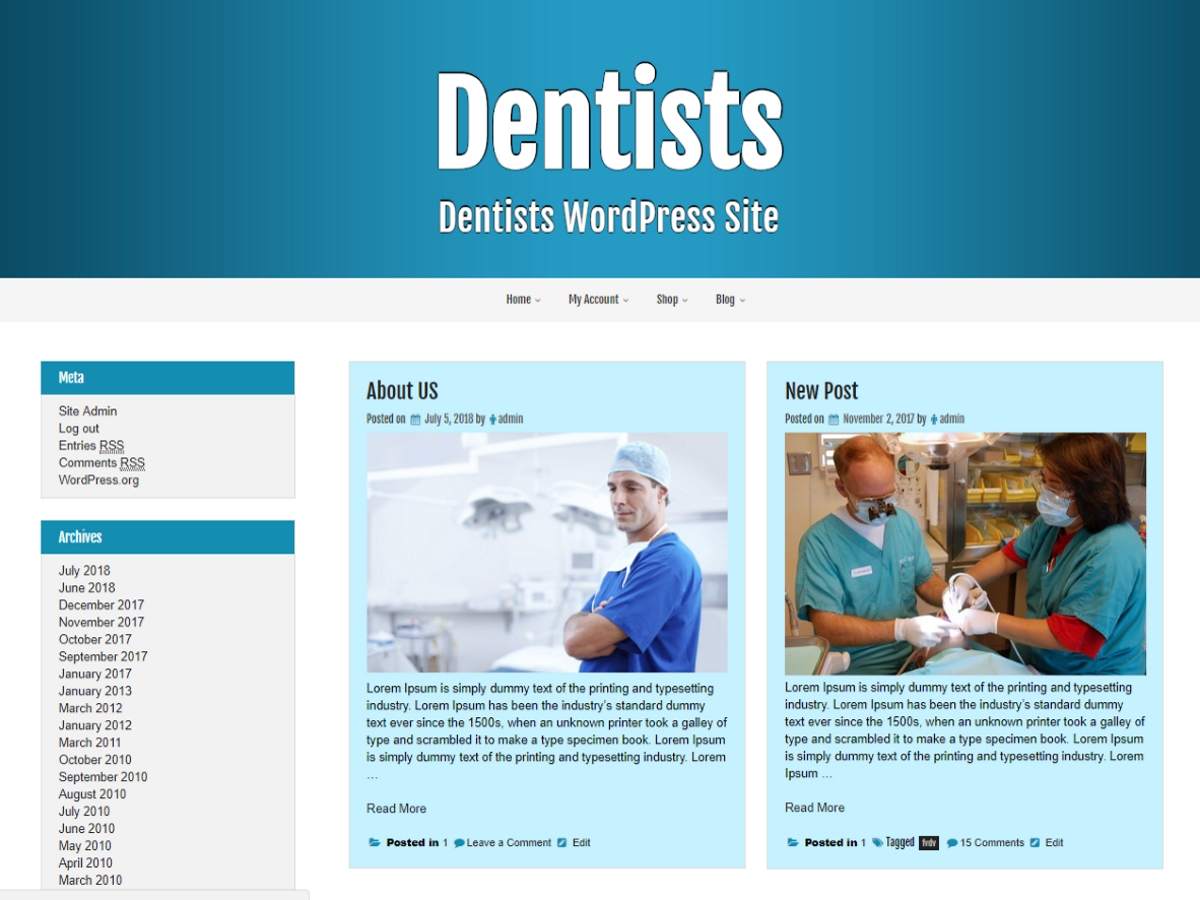 Dentists Preview Wordpress Theme - Rating, Reviews, Preview, Demo & Download