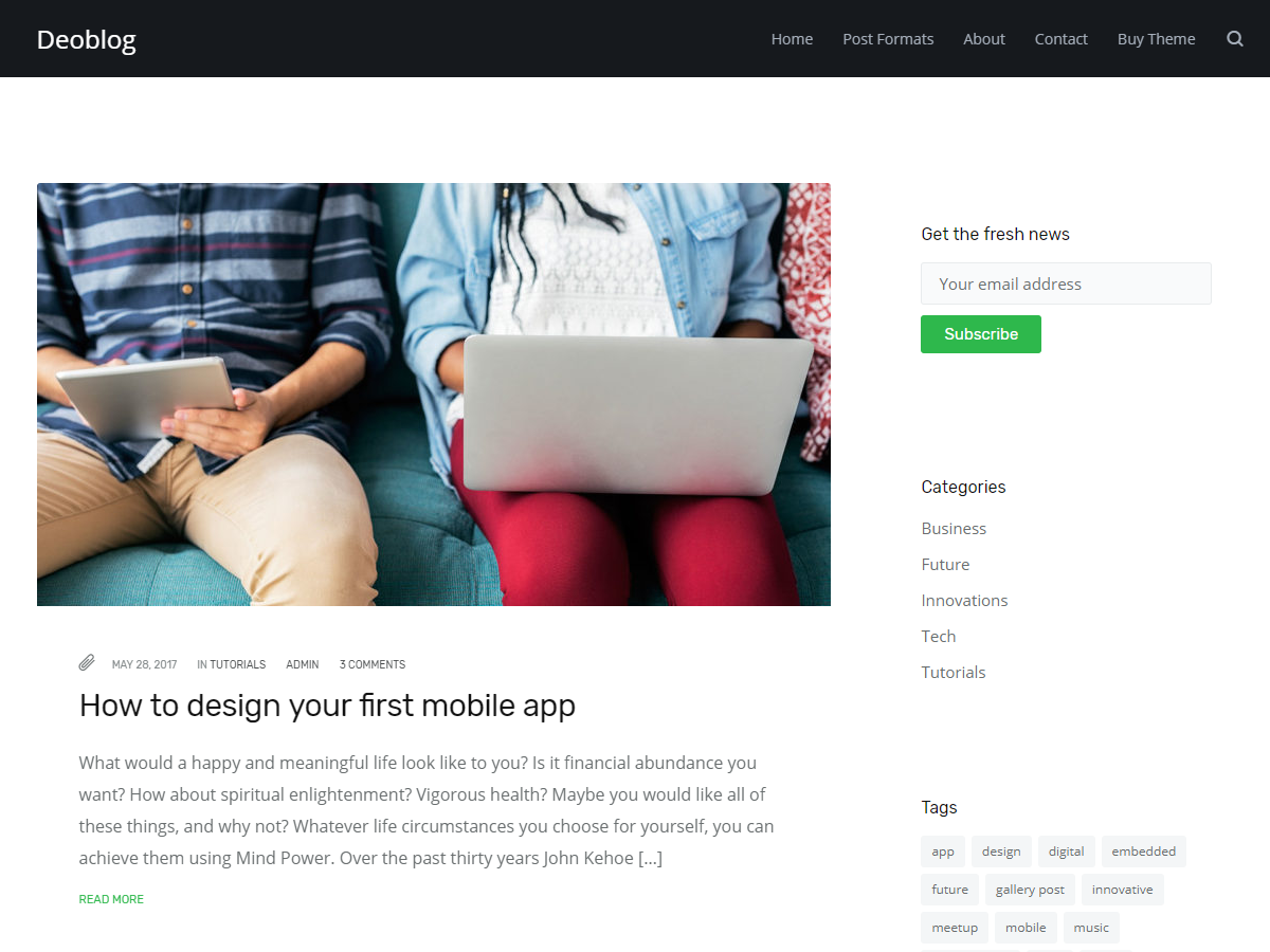 Deoblog Lite Preview Wordpress Theme - Rating, Reviews, Preview, Demo & Download