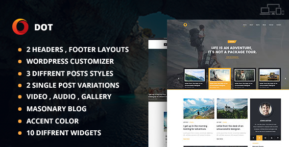 Dot Blog Preview Wordpress Theme - Rating, Reviews, Preview, Demo & Download