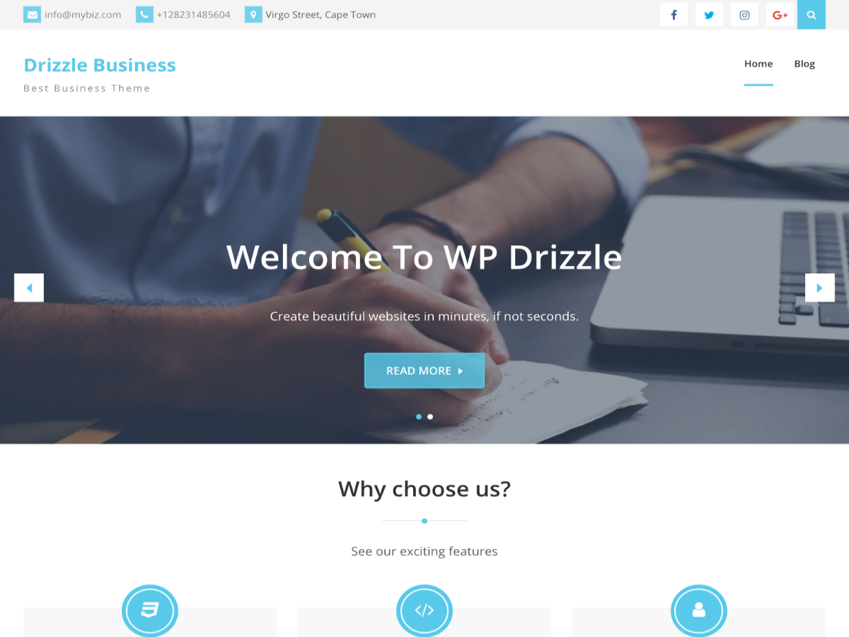 Drizzle Business Preview Wordpress Theme - Rating, Reviews, Preview, Demo & Download