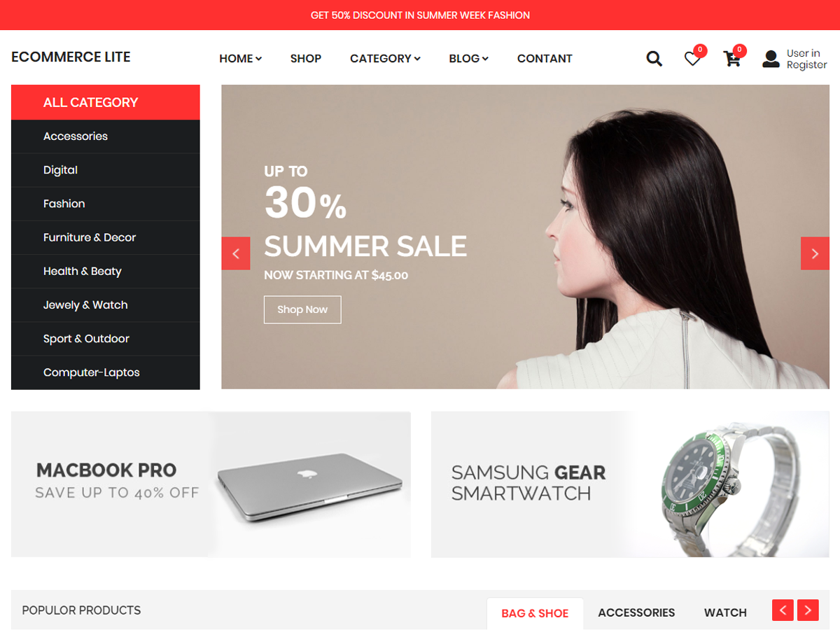 ECommerce Lite Preview Wordpress Theme - Rating, Reviews, Preview, Demo & Download