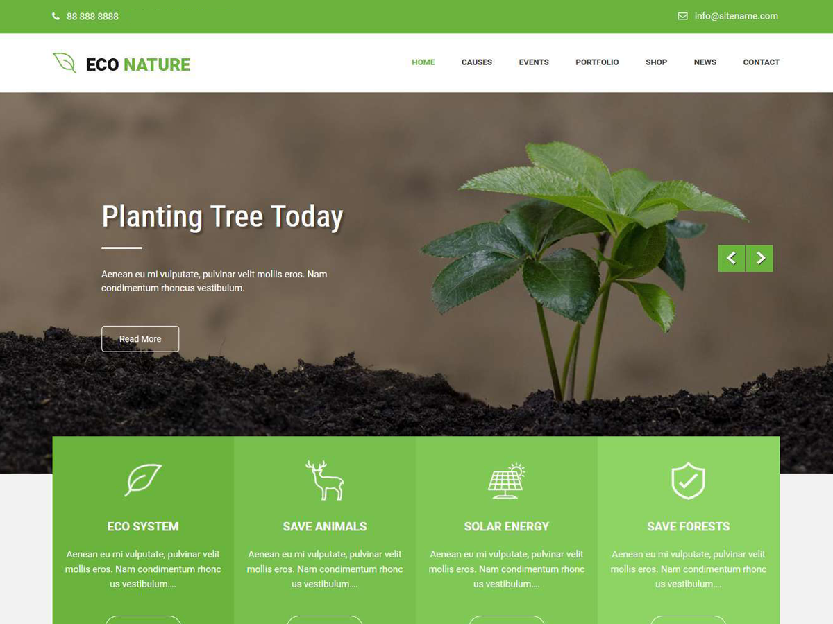 Econature Lite Preview Wordpress Theme - Rating, Reviews, Preview, Demo & Download