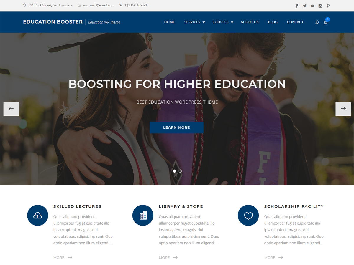 Education Booster Preview Wordpress Theme - Rating, Reviews, Preview, Demo & Download